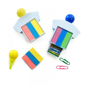 Highlighter With Sticky Note Pad And Paper Clips