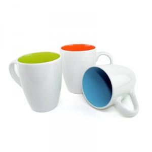 Dual Color Ceramic Mug 11oz (White with Green;Blue;Orange)