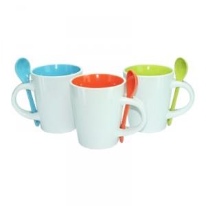 Dual Color Ceramic Mug with Spoon 11oz