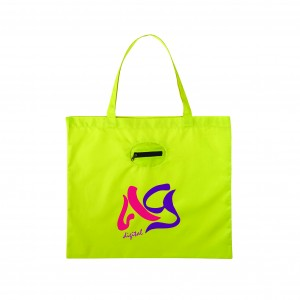 SM 7260 Takeaway Fold Up Shopper Tote_ lime green